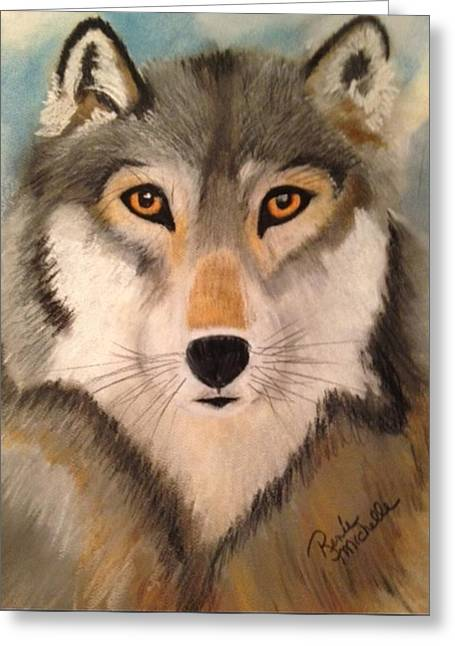 Wolf Pastels Greeting Cards - Looking at a Timber Wolf Greeting Card by Renee Michelle Wenker