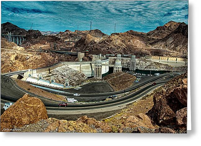 Generators Greeting Cards - Looking at construction Pat Tillman Bridge Hoover Dam Greeting Card by  Bob and Nadine Johnston