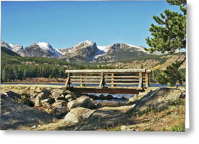 Fine Art Photography Pyrography Greeting Cards - Looking At Longs Peak Colorado Greeting Card by James Steele