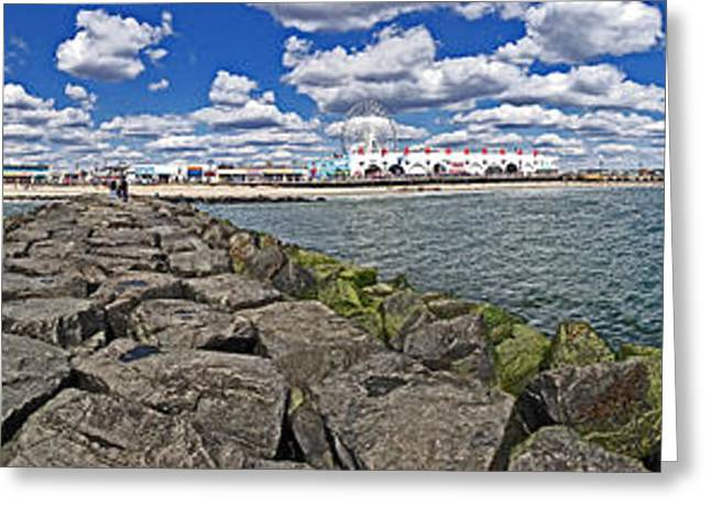 Panoramic Ocean Greeting Cards - Looking at OCNJ Greeting Card by Tom Gari Gallery-Three-Photography