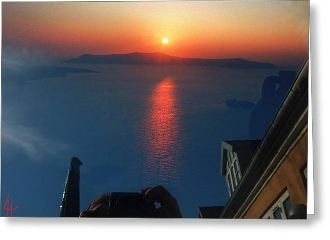 Oceon Greeting Cards - Looking at Santorini Island from my Garden in Denmark  Greeting Card by Colette V Hera  Guggenheim