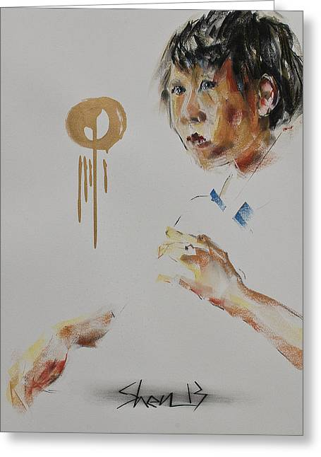 Quartet Pastels Greeting Cards - Looking at the Conductor I Greeting Card by Chia Hui Shen