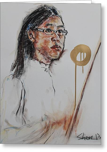 Quartet Pastels Greeting Cards - Looking at the Conductor II Greeting Card by Chia Hui Shen