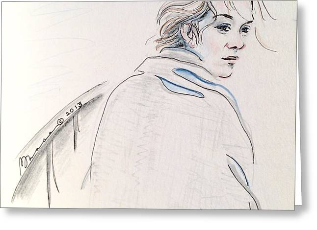 Pensive Drawings Greeting Cards - Looking Back Greeting Card by Barbara Chase
