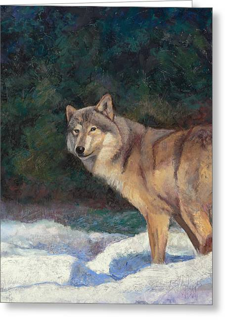 Wolf Pastels Greeting Cards - Looking Back Greeting Card by Billie Colson