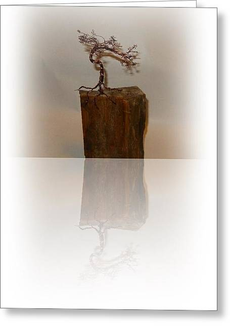 Wire Sculptures Greeting Cards - Looking back   Greeting Card by Joyce  McCormick-Mabry