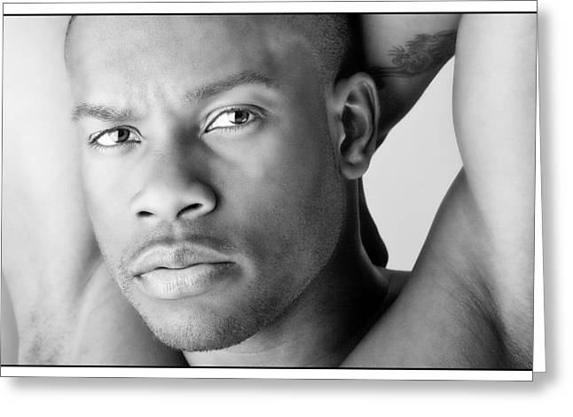 Black Man Greeting Cards - Looking Cool in Black and White Greeting Card by Val Black Russian Tourchin