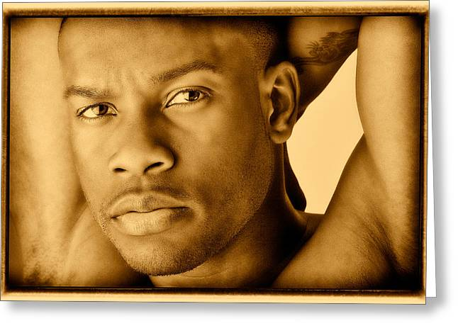 Black Man Greeting Cards - Looking Cool Yellowed Greeting Card by Val Black Russian Tourchin