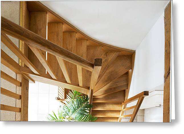 Wooden Stairs Greeting Cards - Looking down a wooden staircase Greeting Card by Corepics