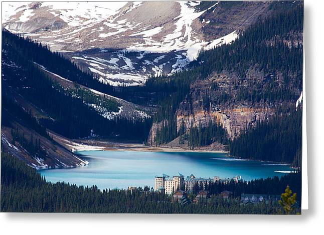Chateau Greeting Cards - Looking Down at Lake Louise Greeting Card by Stuart Litoff