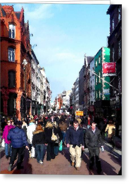 Late Pyrography Greeting Cards - Looking down Grafton Street  Greeting Card by Simeon Taylor