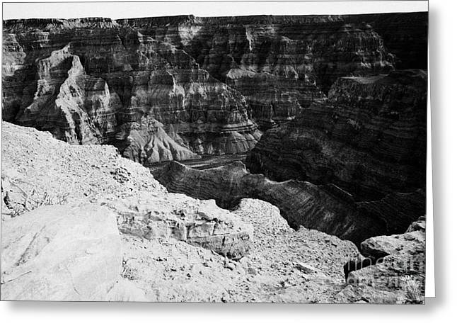Guano Greeting Cards - looking down into the grand canyon guano point Grand Canyon west arizona usa Greeting Card by Joe Fox