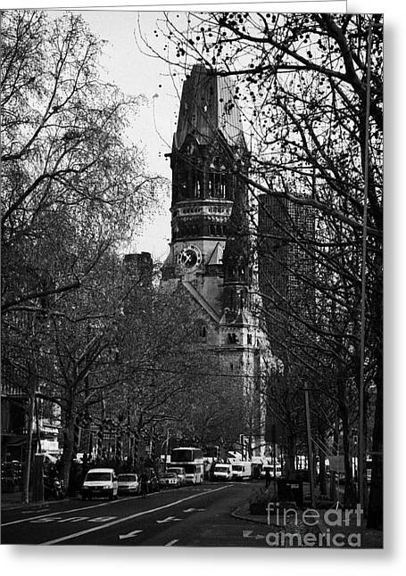Kudamm Photographs Greeting Cards - looking down Kurfurstendamm towards Kaiser Wilhelm Gedachtniskirche memorial church Berlin Germany Greeting Card by Joe Fox