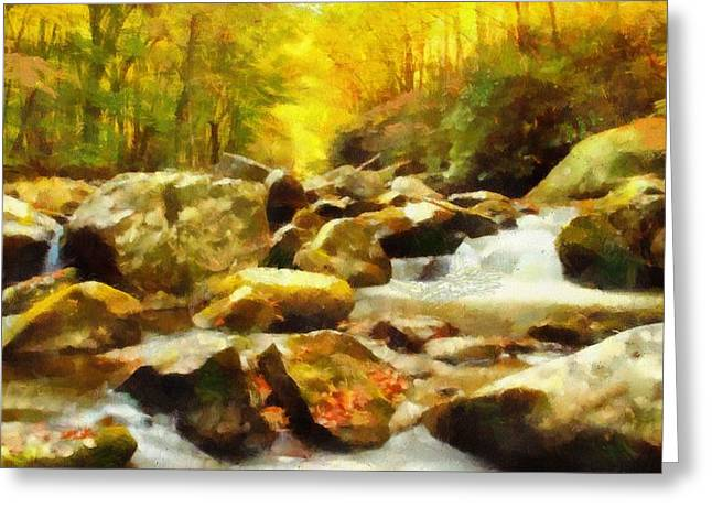 National Parks Mixed Media Greeting Cards - Looking Down Little River In Autumn Greeting Card by Dan Sproul