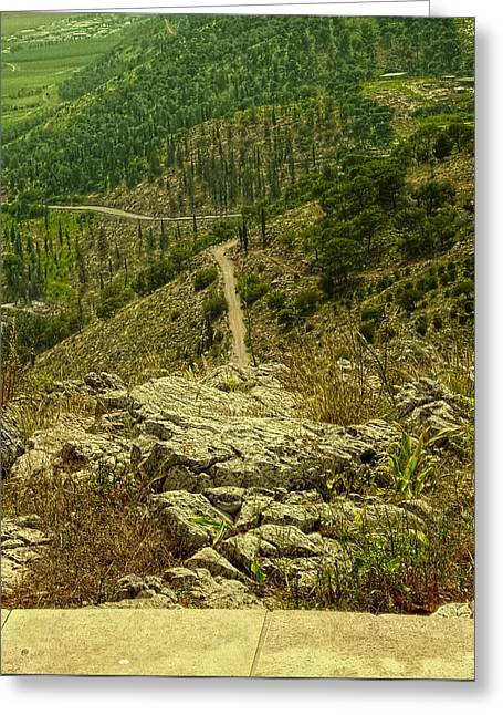 Oppressed Greeting Cards - Looking Down Mount Precipice Greeting Card by Sandra Pena de Ortiz