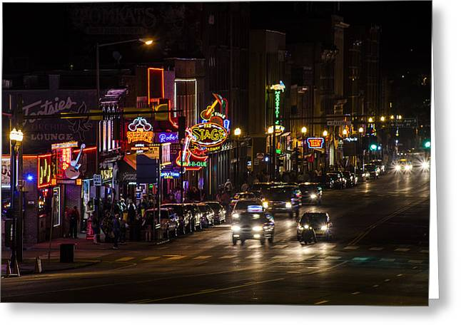 Recently Sold -  - Nashville Tennessee Greeting Cards - Looking down Broadway in Nashville Greeting Card by John McGraw