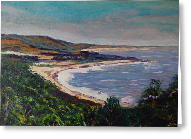 Half Moon Bay Greeting Cards - Looking Down on Half Moon Bay Greeting Card by Carolyn Donnell