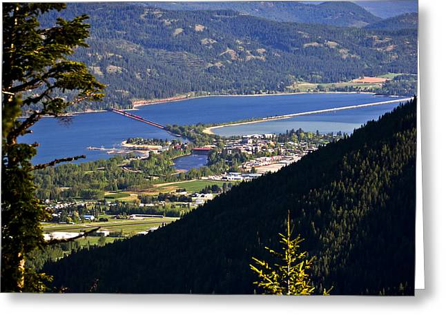 Schweitzer Greeting Cards - Looking down on Sandpoint  -  70509-15 Greeting Card by Albert Seger