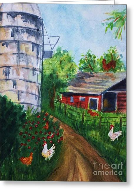 Split Rail Fence Paintings Greeting Cards - Looking Down On The Farm Greeting Card by Ellen Levinson