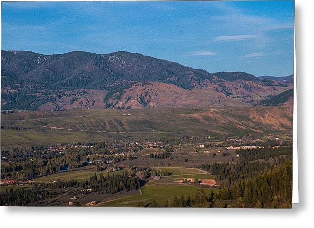 Hdr Look Digital Greeting Cards - Looking Down on the Town of Winthrop Washington Landscape Photograph Greeting Card by Omaste Witkowski