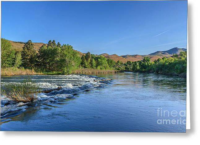 Haybales Greeting Cards - Looking Down The Payette River Greeting Card by Robert Bales
