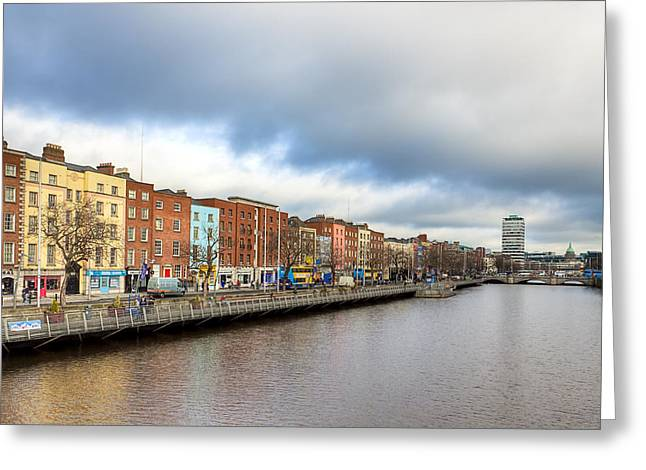 Center City Greeting Cards - Looking Down the River Liffey in Dublin Greeting Card by Mark Tisdale