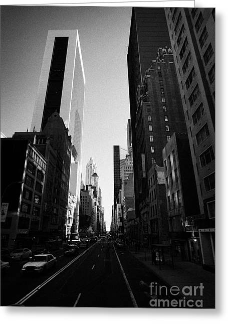 Manhatan Greeting Cards - looking down West 57th Street midtown new york city Greeting Card by Joe Fox