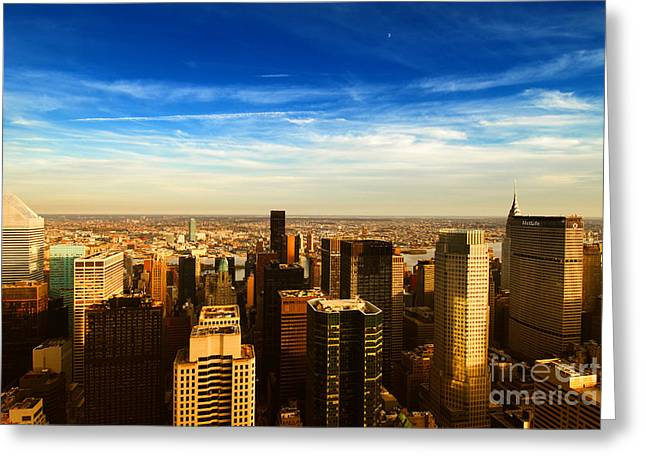 Limitless Greeting Cards - Looking East Manhattan Chrysler Building Greeting Card by Sabine Jacobs
