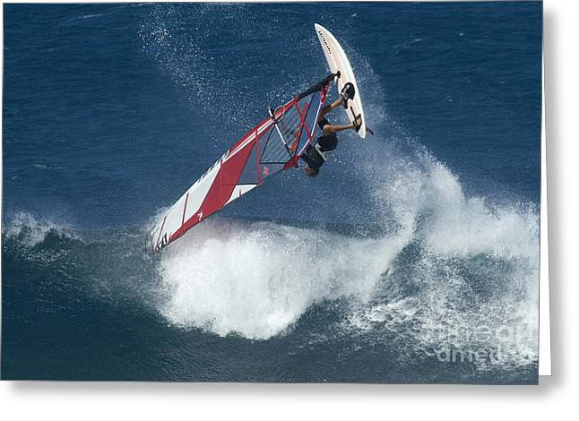 Surfing Photos Greeting Cards - Windsurfing Hawaii Looking For Air Greeting Card by Bob Christopher