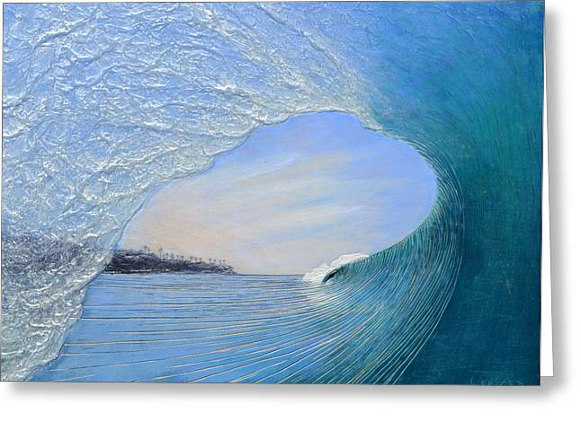 Surf Art Greeting Cards - Looking for an Exit Greeting Card by Nathan Ledyard