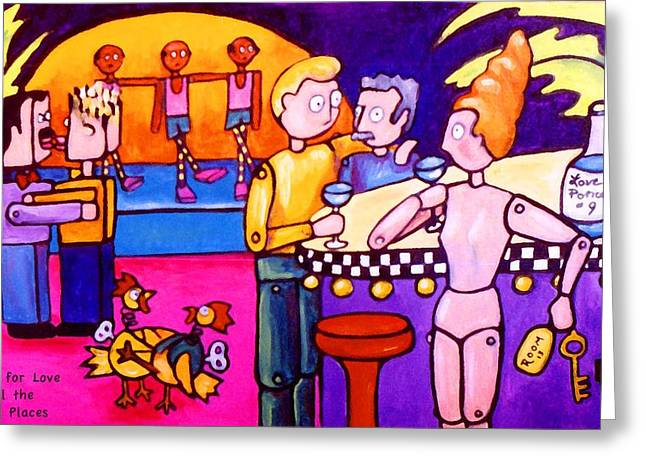 Gay Bar Paintings Greeting Cards - Looking for love in all the wrong places Greeting Card by Darlene Grubbs