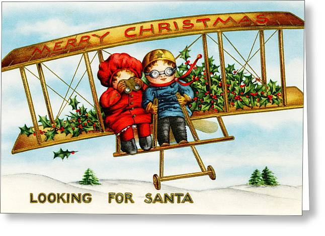 Cards Vintage Greeting Cards - Looking for Santa Greeting Card by Munir Alawi