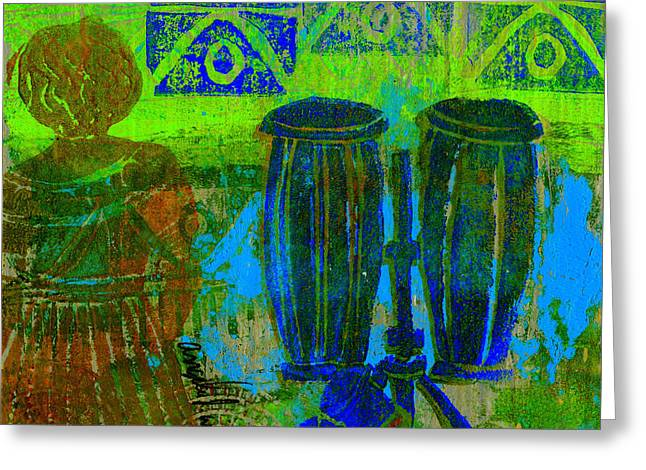 Printmaking Greeting Cards - Looking for The Drummer Greeting Card by Angela L Walker