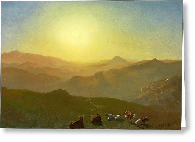 Amazing Sunset Paintings Greeting Cards - Looking from the Shade on Clay Hill .Sunset Clay Street Hill San Francisco Greeting Card by Albert Bierstadt