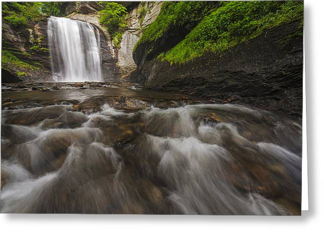 Pisgah Greeting Cards - Looking Glass Falls Greeting Card by Joseph Rossbach