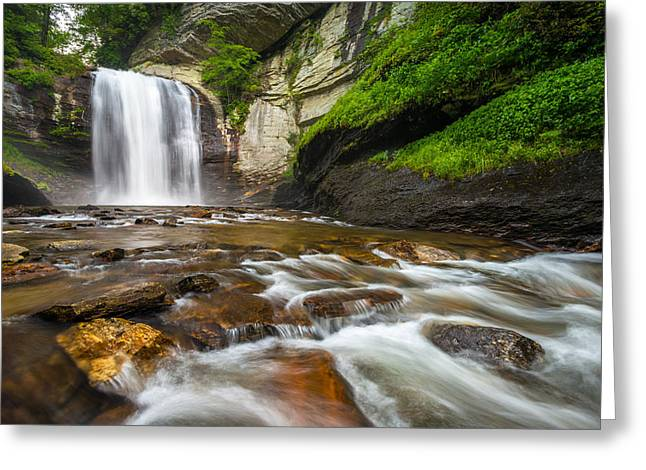 Looking Glass Falls - North Carolina Blue Ridge Waterfalls Wnc Greeting Card by Dave Allen