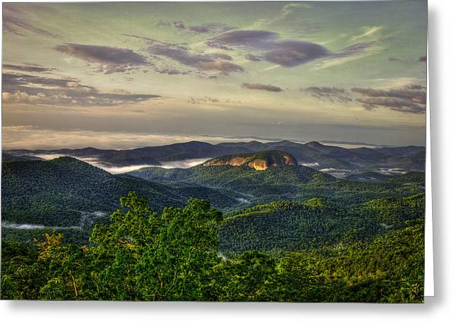 Monolith Greeting Cards - Sunrise on Looking Glass Rock Blue Ridge Parkway Greeting Card by Reid Callaway