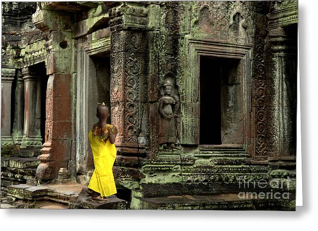 Ancient Ruins Greeting Cards - Looking Into Cambodia Greeting Card by Bob Christopher