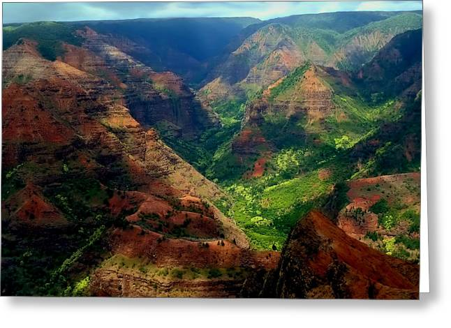 Sienna Greeting Cards - Looking Into Waimea Canyon Greeting Card by Connie Handscomb