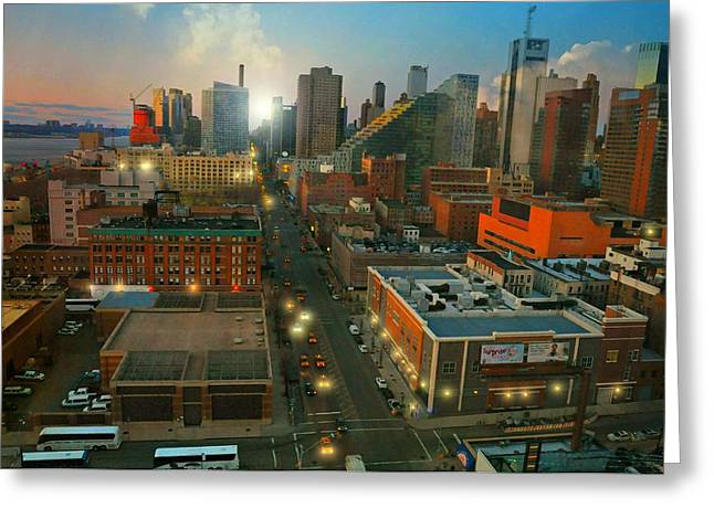 Midtown West Greeting Cards - Looking North from the West Side Greeting Card by Diana Angstadt