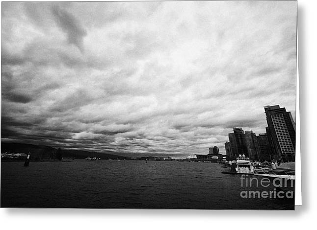 looking out from coal harbour into Vancouver Harbour on an overcast cloudy day BC Canada Greeting Card by Joe Fox
