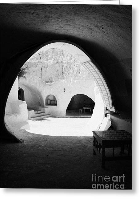 Dug Out Greeting Cards - looking out from one of the caves at the Sidi Driss Hotel underground at Matmata Tunisia scene of Star Wars films vertical Greeting Card by Joe Fox