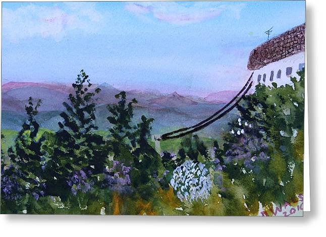 Watercolor Skiing Print Greeting Cards - Looking out from the top of Jay Peak Greeting Card by Donna Walsh