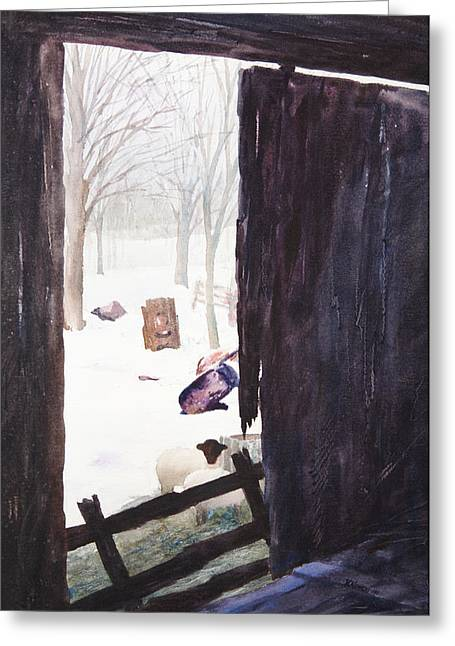 Tree Roots Paintings Greeting Cards - Looking out looking In Greeting Card by Rachel Christine Nowicki
