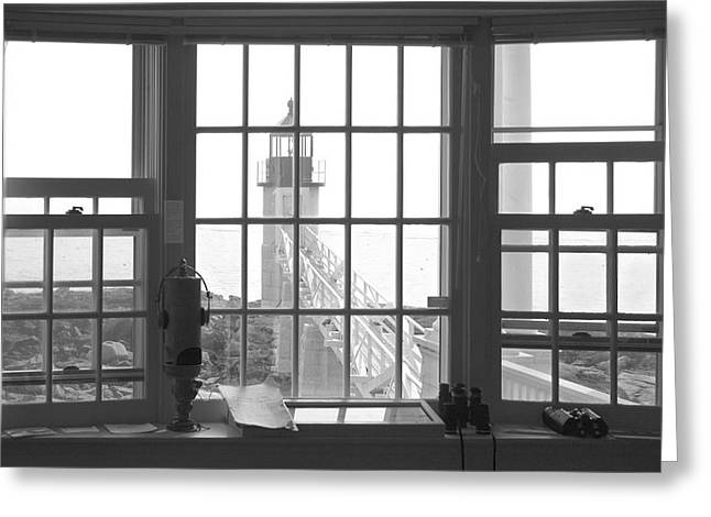 Maine Lighthouses Digital Greeting Cards - Looking Out Greeting Card by Mike McGlothlen