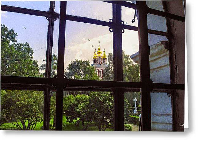 Russian Cross Greeting Cards - Looking Out - Novodevichy Convent - Russia Greeting Card by Madeline Ellis