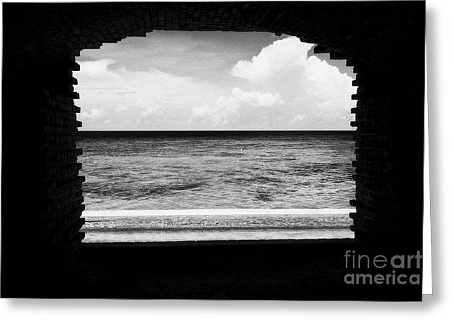 Dry Tortugas Greeting Cards - Looking Out Of Brick Archway Towards The Outer Wall And Sea Fort Jefferson Dry Tortugas National Par Greeting Card by Joe Fox
