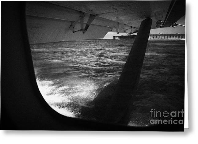 Dry Tortugas Greeting Cards - Looking Out Of Seaplane Window Landing On The Water Next To Fort Jefferson Garden Key Dry Tortugas F Greeting Card by Joe Fox