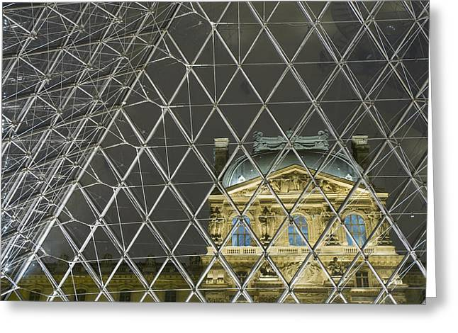 Glass Facade Greeting Cards - Looking Out Of The Pyramid To The Greeting Card by Ian Cumming