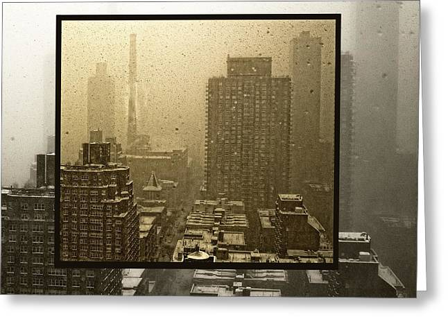 Wintry Greeting Cards - Looking Out On A Snowy Day - NYC Greeting Card by Madeline Ellis